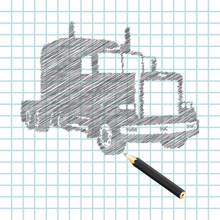 Hand-drown truck sketch, vector illustration Stock Vector - 9542912
