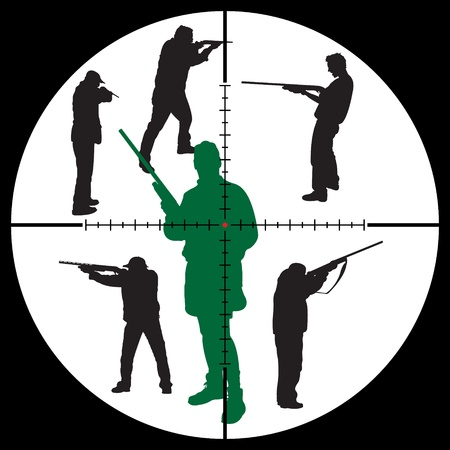 apart: Hunters silhouettes and sniper sight for you design, vector illustration Illustration