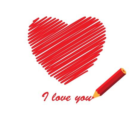 i love you sign: Manuscript love message, vector illustration
