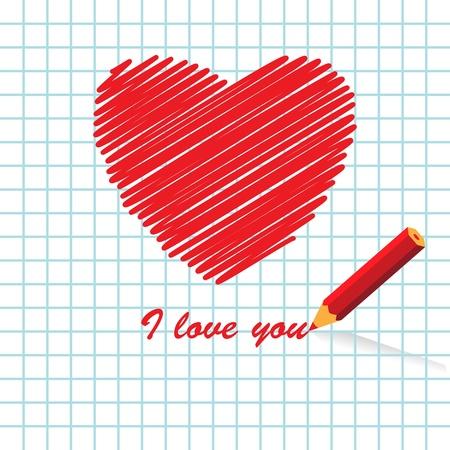 Manuscript love message, vector illustration Vector