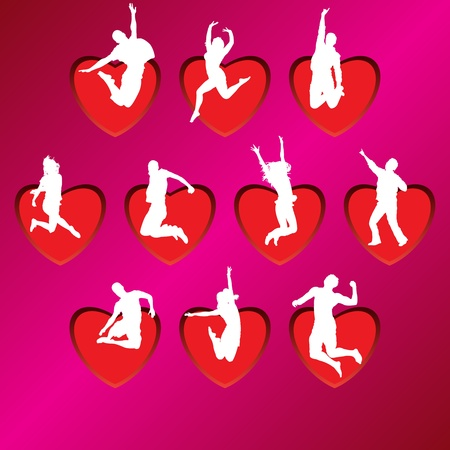 ess: People silhouettes on background of hearts, vector illustration