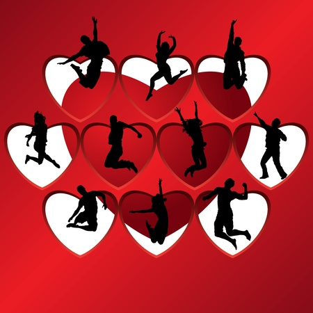 People silhouettes on background of hearts, vector illustration Vector