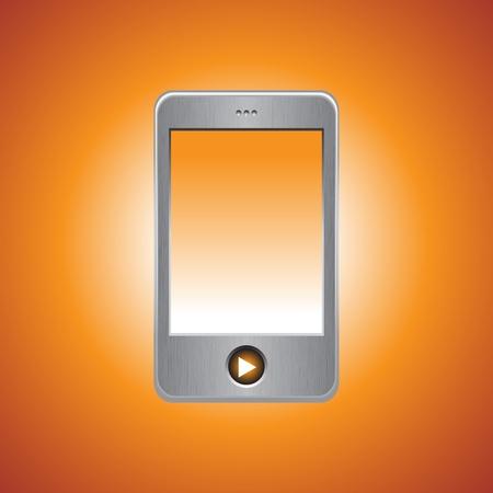 MP3 player on orange background, vector illustration Stock Vector - 9542947