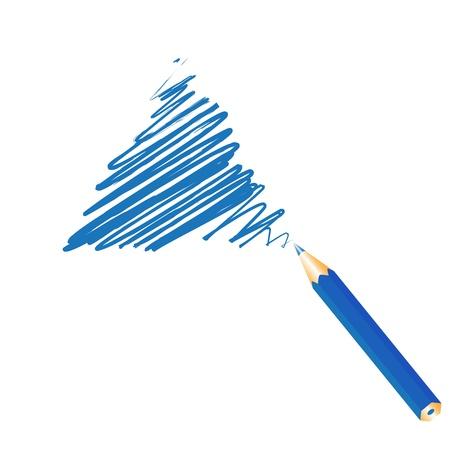 Blue handwritten triangle, vector illustration