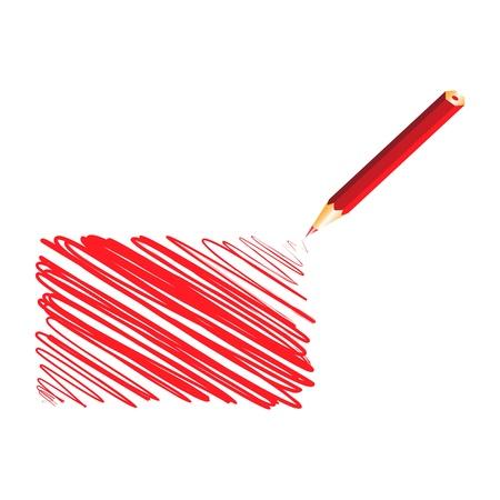 Red handwritten rectangle, vector illustration Stock Vector - 9542370