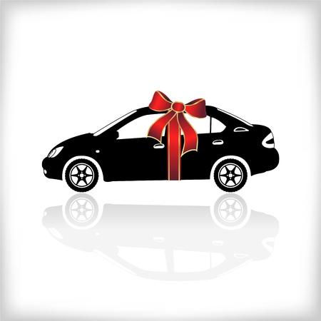 Gift car with red bow, vector illustration Ilustracja