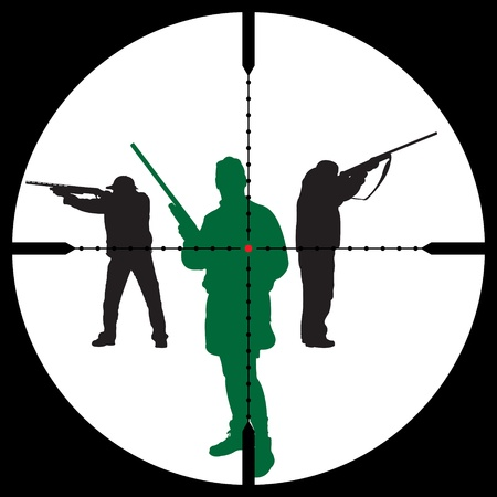 Hunters silhouettes and sniper sight for you design, vector illustration Ilustracja