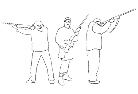 shooter: Hand-drawing collection of hunters, vector illustration Illustration