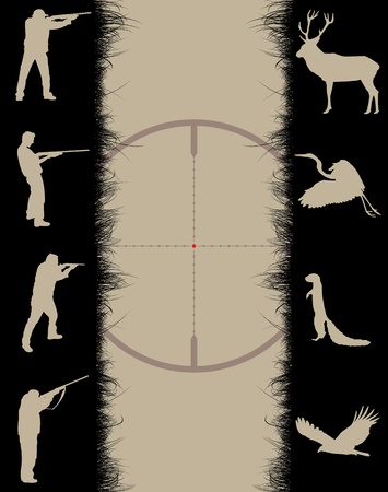 охотник: Frame with sniper sight, animals and hunters, vector illustration