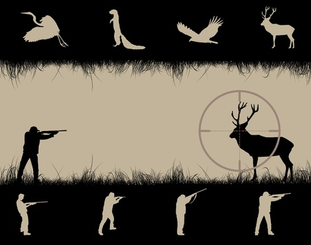 Frame with sniper sight, animals and hunters, vector illustration