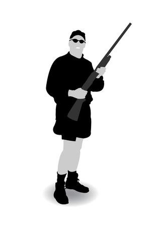 Isolated black-white hunter silhouette, vector illustration Stock Vector - 9542330
