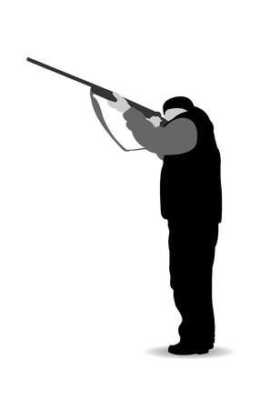 shooting gun: Isolated black-white hunter silhouette, vector illustration Illustration