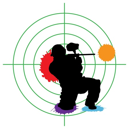 paintball silhouette and a target, vector illustration