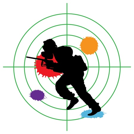 hombre disparando: Paintball silueta y un destino, ilustraci�n vectorial