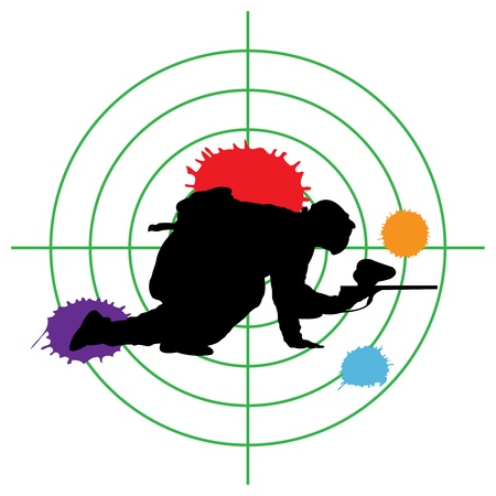 shooting gun: paintball silhouette and a target, vector illustration