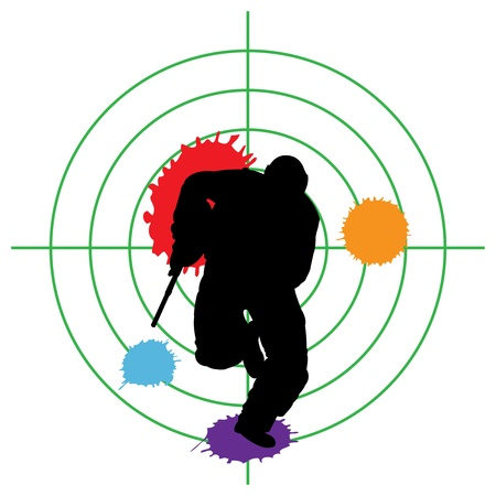gun man: paintball silhouette and a target, vector illustration