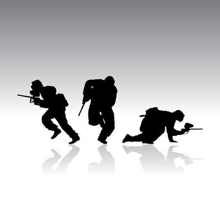 nemici: Paintball silhouette con riflessione, illustrazione vettoriale