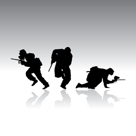 paintball silhouettes with reflection, vector illustration Vector