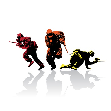 recreational: colored paintball silhouettes with reflection, vector illustration