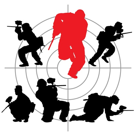paintball silhouettes and a target, vector illustration