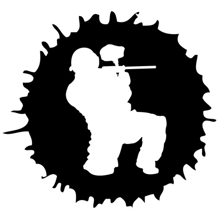 black paintball silhouette into the drop, vector illustration Illustration