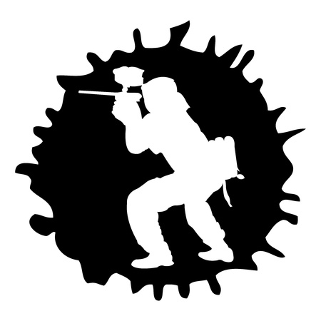 black paintball silhouette into the drop, vector illustration Vector