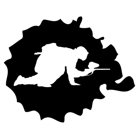 shooting goal: black paintball silhouette into the drop, vector illustration Illustration