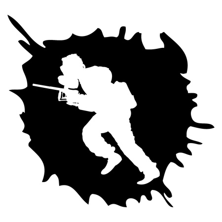 paintball: black paintball silhouette into the drop, vector illustration Illustration
