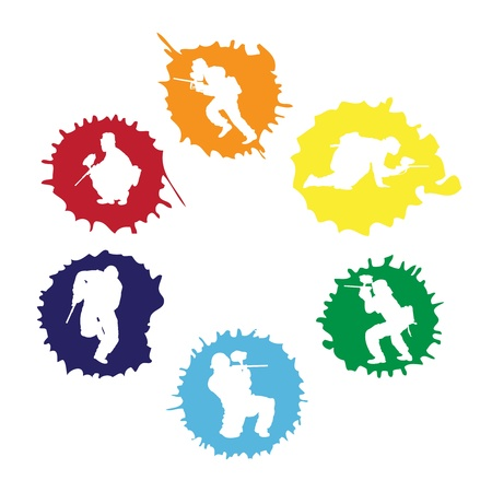 paintball: colored paintball silhouettes into the drops, vector illustration