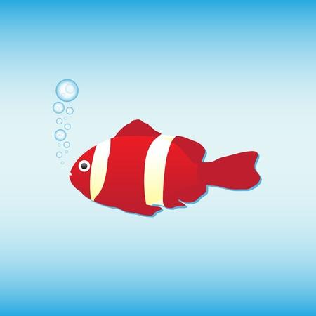 Cartoon anemone fish, vector illustration Vector