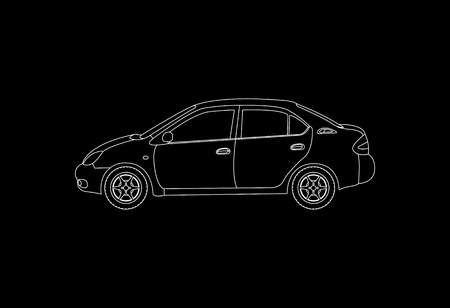 Family car silhouette, vector illustration Vector