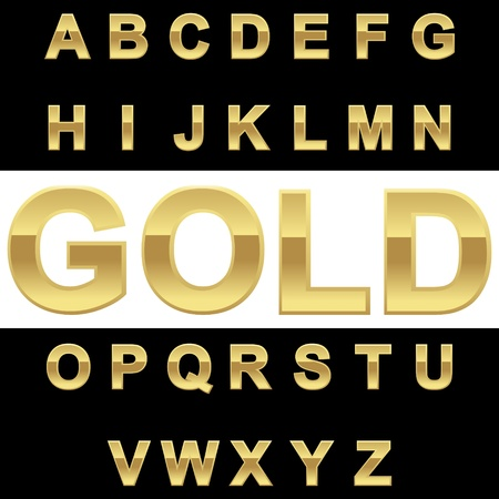 Golden alphabet on blackwhite background, vector illustration