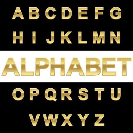 gold letter: Golden alphabet on blackwhite background, vector illustration