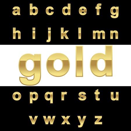 Golden alphabet on black\white background, vector illustration