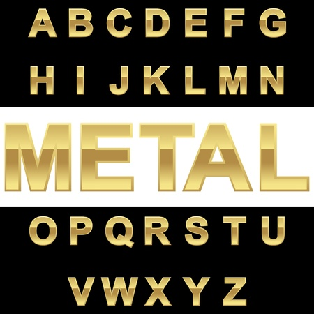 textual: Golden alphabet on blackwhite background, vector illustration