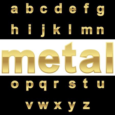 Golden alphabet on blackwhite background, vector illustration Vector