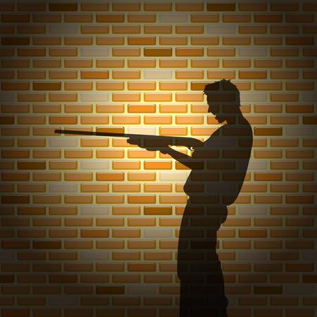 Killer silhouette on brick wall, vector illustration Stock Vector - 9542906