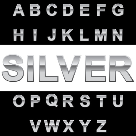 Metal alphabet on blackwhite background