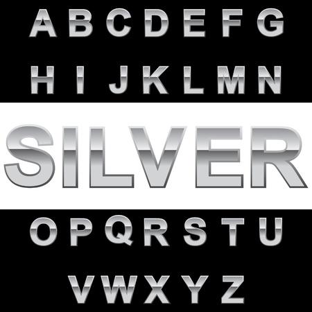 Metal alphabet on blackwhite background