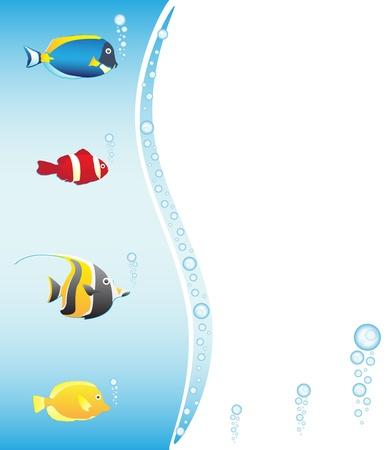 idool: Tropische vissen frame, vector illstration Stock Illustratie