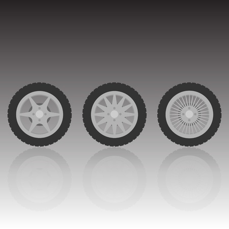 Wheel collection with reflection, vector illustration Vector