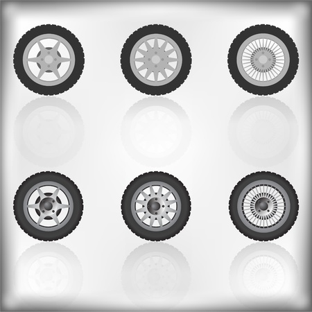 Wheel collection with reflection, vector illustration Illustration