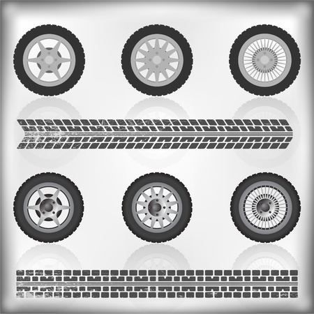 Wheel and tire collection with reflection, vector illustration Vector