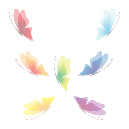 Collection of seven transparent butterflies, vector illustration, eps 10 Illustration