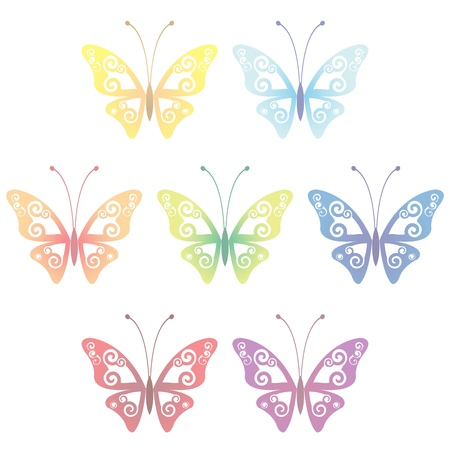 butterflies flying: Collection of seven transparent butterflies, vector illustration, eps 10 Illustration