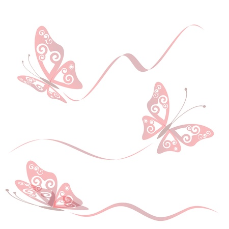 Butterfly collection with flying trace, vector illustration, eps 10 Illustration