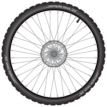 vector wheel: Detailed bicycle wheel with brake disk, vector illustration, eps10