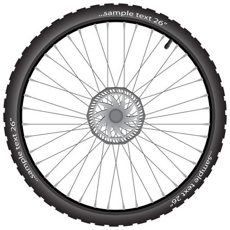Ruota di bicicletta dettagliate con disco freno, illustrazione vettoriale, eps10