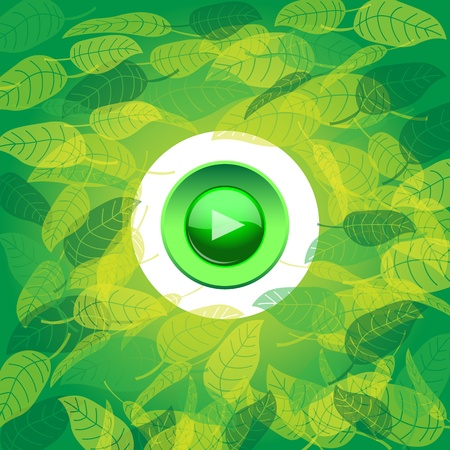 Play button on floral background. Vector