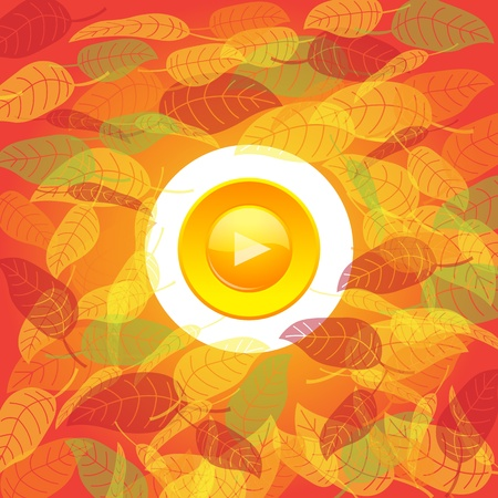 Play button on autumn background. Stock Vector - 10057856